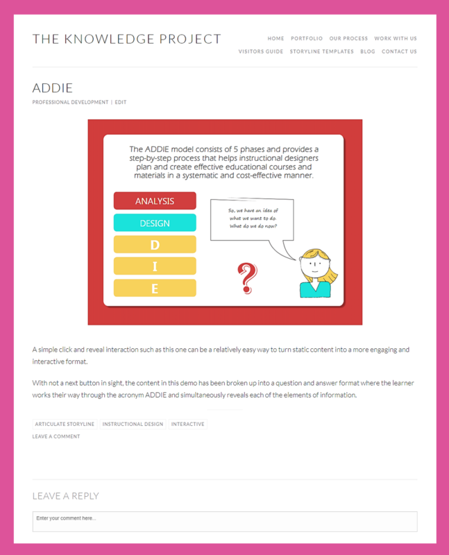 the knowledge project instructional design example